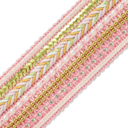 Tuva Woven Beaded Trim Pink (Precut, 10 Yards)