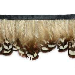 Kimberly Log Cabin Plush Feather Fringe Trim Natural