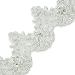 Noreen Embr. Lace Trim w/Pearls & Sequin Ivory