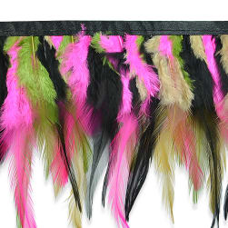 Mali Festive Feather Fringe Trim Multi Colors (Precut,