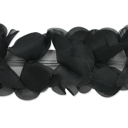Delicate Flower Petal Trim Black (Precut 10 Yard)