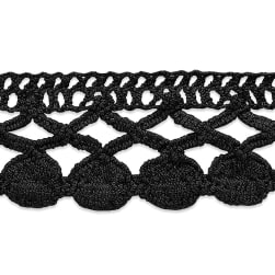 Sadie Machine Crocheted Trim Black (Precut 10 Yard)
