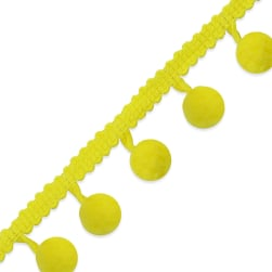 3/8'' Pom Fringe Trim Yellow (Precut 20 Yard)