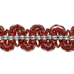 Eva Faux Rhinestone Metallic Braid Trim Red/Silver (Precut 20 Yard)