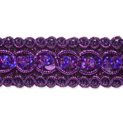 7/8'' Trish Sequin Metallic Braid Trim Purple (Precut 20 Yard)
