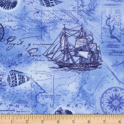 Timeless Treasures Nautical Mile Nautical Map Ocean
