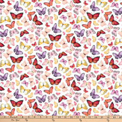 Northcott April Showers Butterflies White Multi
