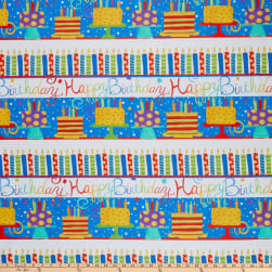 In The Beginning Fabrics Happy Birthday Border Stripe