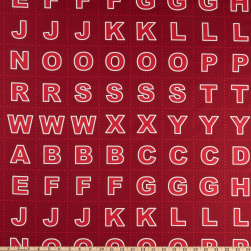Lewis & Irene Christmas Glow Letters 17.5'' Panel Glow In The Dark Red Fabric
