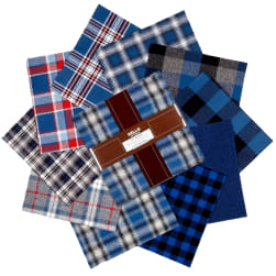 "Kaufman Mammoth Flannel 10"" Square Blue 42 pcs."
