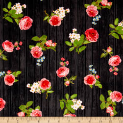 Kaufman Farmhouse Rose Wood Flowers Black