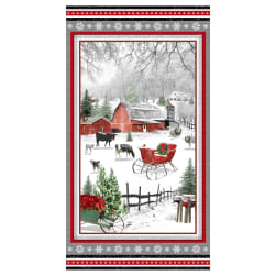 Henry Glass Holiday Homestead 24'' Farm Scene Panel Red/Gray