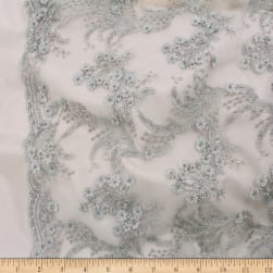Telio Lindie Lace Mesh Beaded Floral Lace Silver Birch Fabric