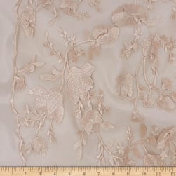 Telio Lena Lace Mesh Embroidery Floral Champagne Fabric