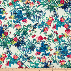 Telio Bloom Stretch Cotton Sateen Floral Garden White Teal Denim Fabric