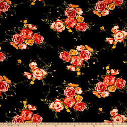 Rayon Spandex Jersey Knit Roses Black  Fabric