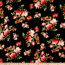 Rayon Spandex Jersey Knit Rose Garden Black/Coral Fabric