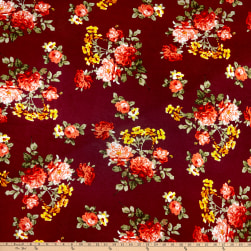 Rayon Spandex Jersey Knit Rose Garden Wine/Coral