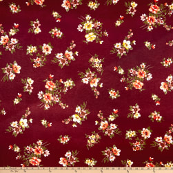 Rayon Spandex Jersey Knit Floral Wine/Coral Fabric