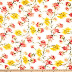 Rayon Spandex Jersey Knit Abstract Floral Ivory/Coral Fabric