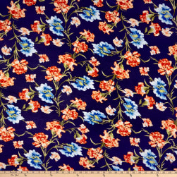 Rayon Spandex Jersey Knit Abstract Floral Navy/Coral Fabric