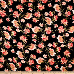 Rayon Spandex Jersey Knit Abstract Floral Black/Coral Fabric