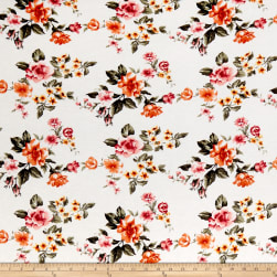 Rayon Spandex Jersey Knit Floral Garden Ivory/Coral Fabric