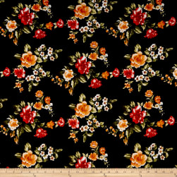 Rayon Spandex Jersey Knit Floral Garden Black/Coral Fabric
