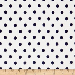 Rayon Spandex Jersey Knit Small Polka Dot Ivory/Navy Fabric