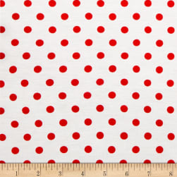 Rayon Spandex Jersey Knit Small Polka Dot Ivory/Red Fabric