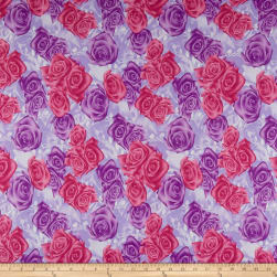 Double Brushed Poly Jersey Knit Rose Garden Purple/Pink Fabric