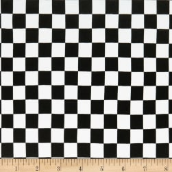 Double Brushed Poly Jersey Knit Plaid Checker Black Fabric