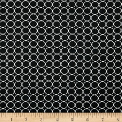 Double Brushed Poly Jersey Knit Small Circles Black Fabric