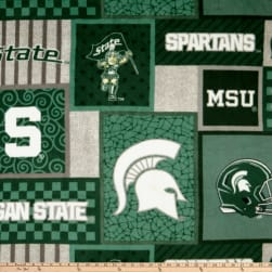 NCAA Michigan State Spartans 1177 Patch Fleece Fabric