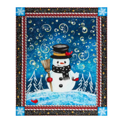 Precious Moments Snow Much Fun Christmas Snowman 37.5'' Digital Panel Blue Fabric