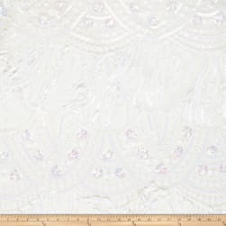 Mariah Sequin Embroidery White Fabric