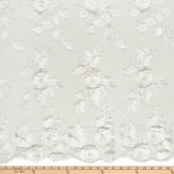 3D Flower and Petals Micro Mesh Ivory