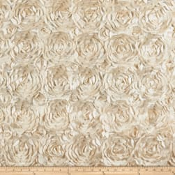 3D Satin Roses Champagne Fabric