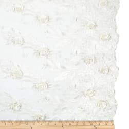 3D Roses Embroidery Mirco Mesh Dark Ivory