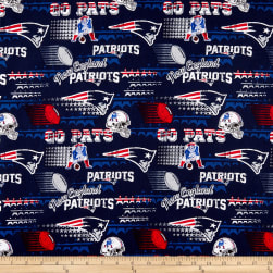 NFL Cotton Broadcloth New England Patriots Retro Navy Fabric