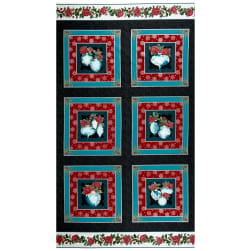 Benartex A Festive Season 3 Festive Lace Ornament 24'' Panel Charcoal /Teal Fabric