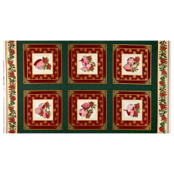 Benartex A Festive Season 3 Festive Lace Ornament 24'' Panel Green/Red Fabric