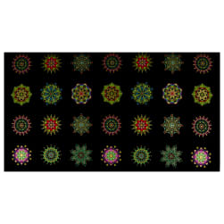 Benartex Piece & Joy Ornaments 24'' Panel Black/Multi Fabric