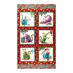 Benartex Cat-I-tude Christmas Cat-I-tude Paisley Panel Red/Multi Fabric