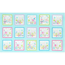 Kanvas Some Bunny Loves You Bunny Boxes Medium Aqua 24'' x 42'' Panel Fabric