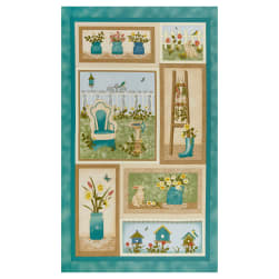 Benartex My Secret Garden 24'' Panel Blue/Multi Fabric