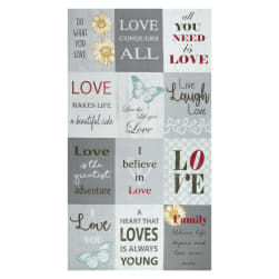 Contempo Words to Live By Love 24'' Panel Grey/Multi