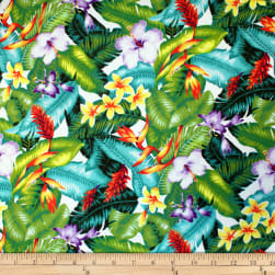 Trans-Pacific Textiles Hawaiian Small Hibiscus Tropical White Fabric