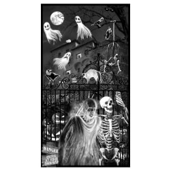 Blank Quilting Ghoulish Gathering (Glow In The Dark) Panel - 24 Inches Black Fabric