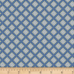 Red & Blue And Rose Too Lattice Blue Fabric
